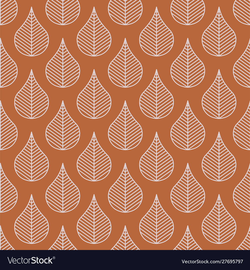 Foliage line leaves seamless pattern brown