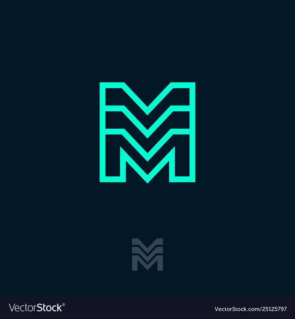M monogram module emblem building logo