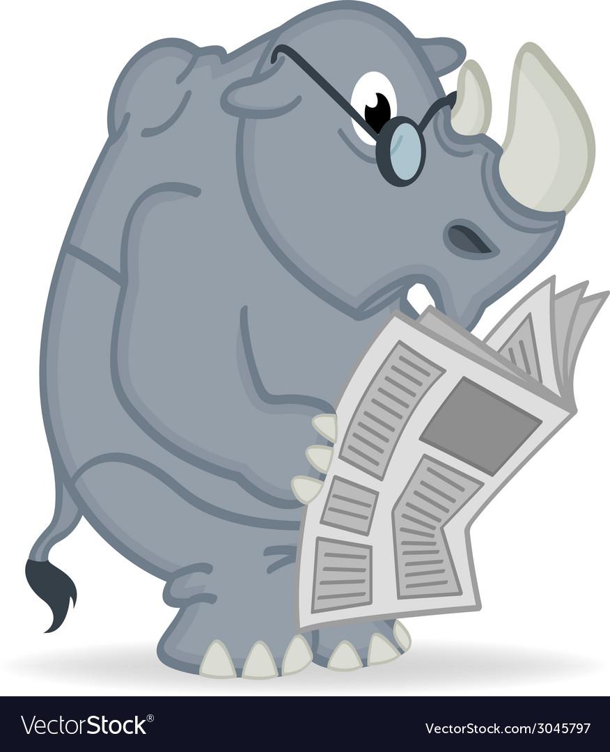 Rhino reading newspaper