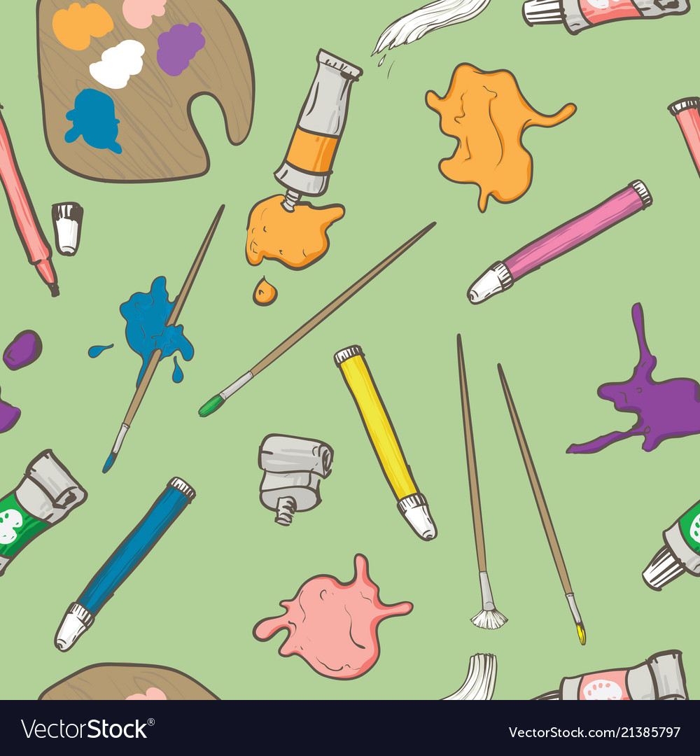 Seamless pattern with art supplies