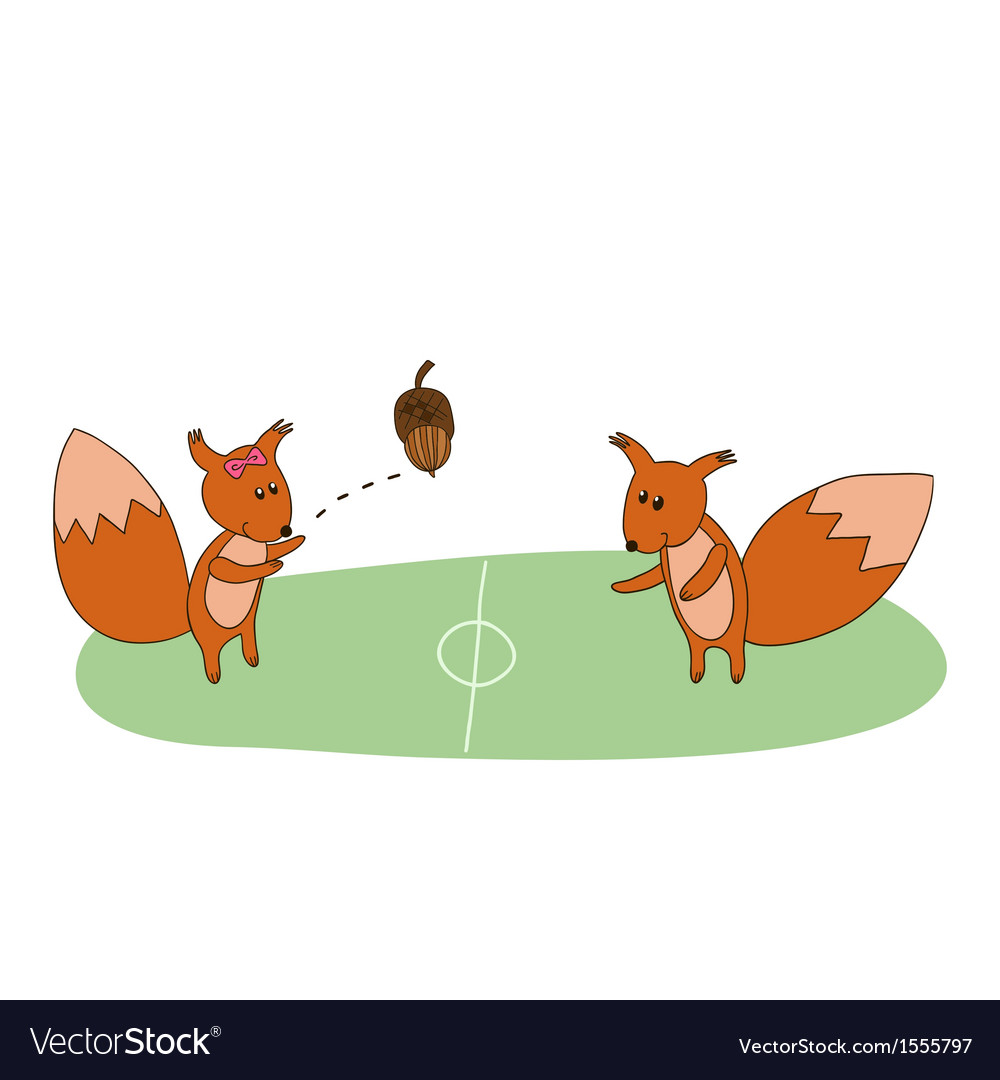 Squirrels play with acorn on the field vector image