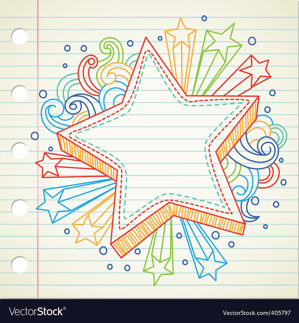 Star doodle vector image