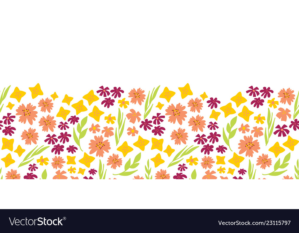 Summer flowers seamless repeat border