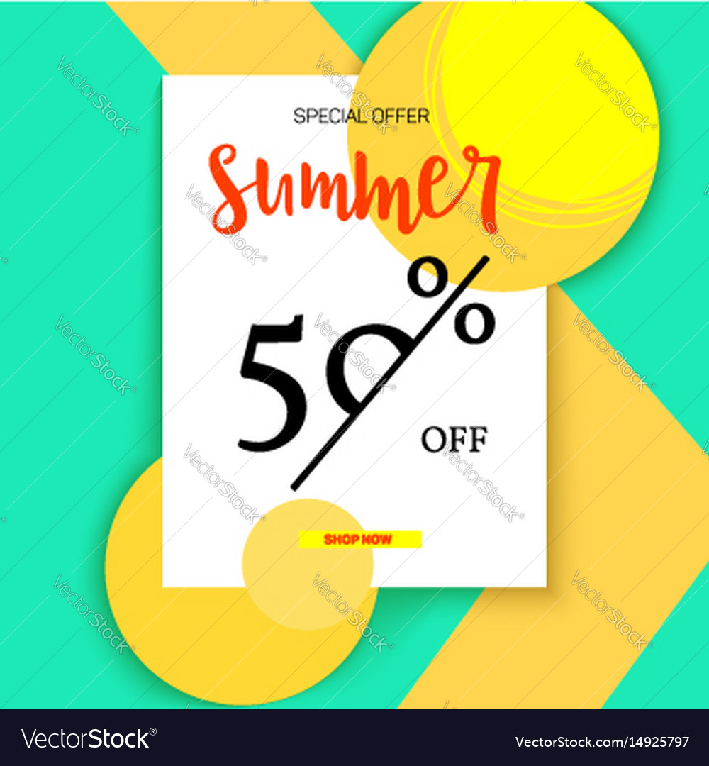 Summer selling ad banner vintage text design vector image