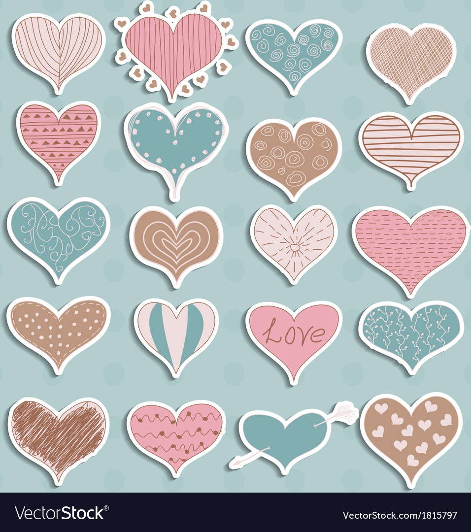 Valentines Day Hearts Retro Sketchy Doodles on vector image