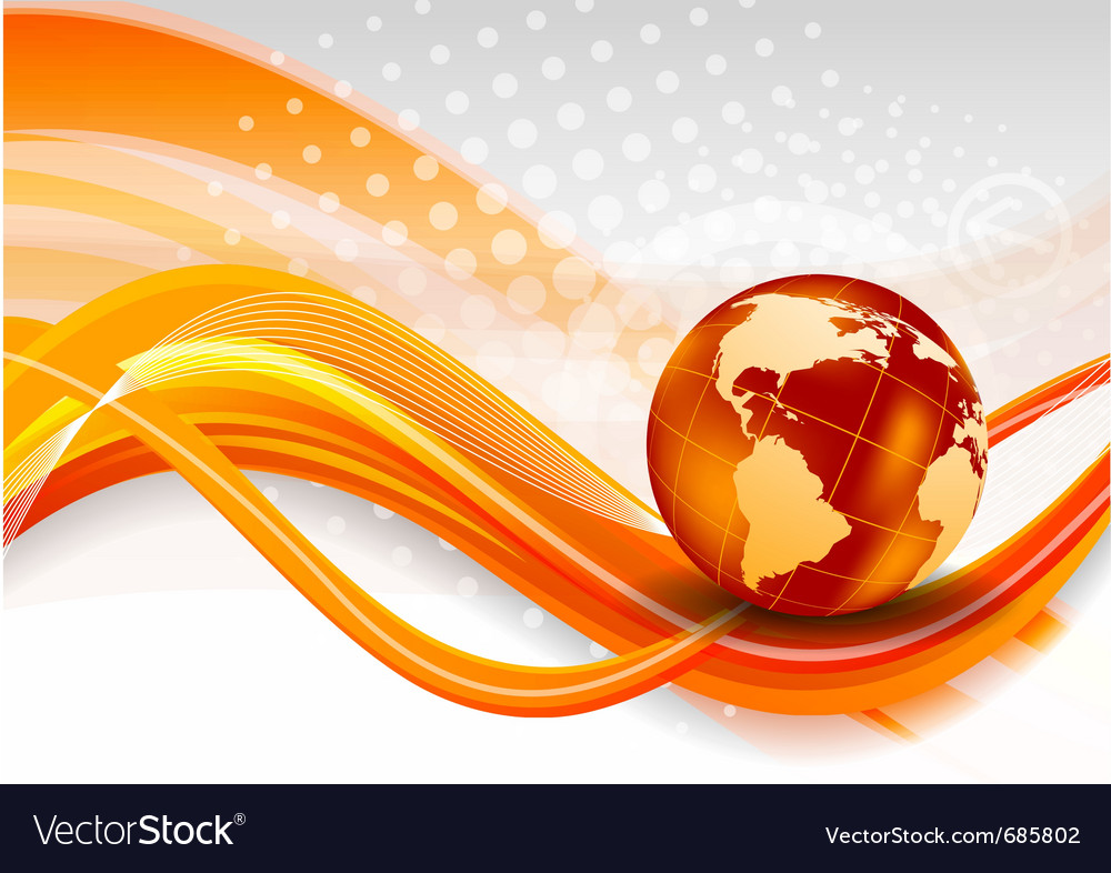 Abstract orange background with globe vector image