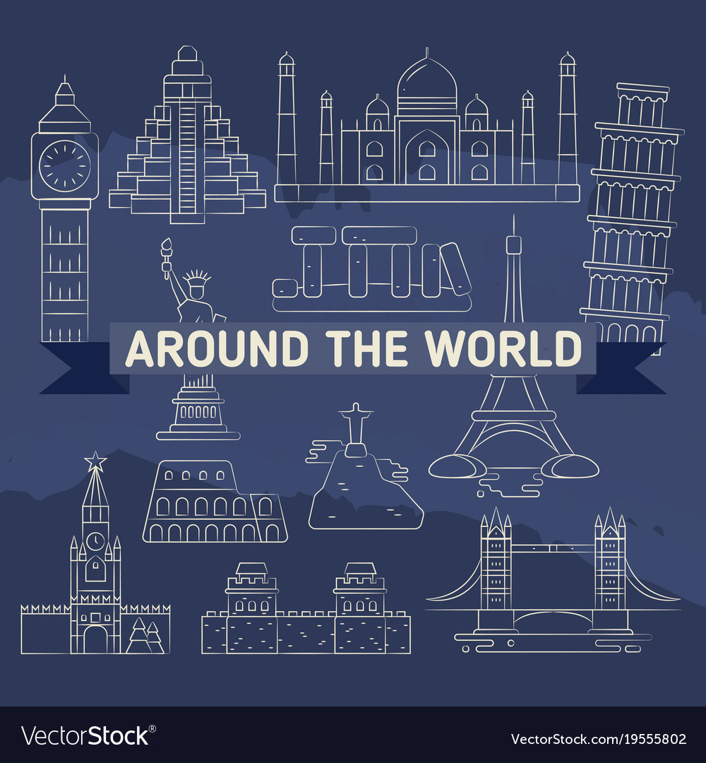Around the world linear icons - famous landmarks