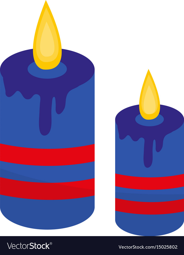Blue candles icon flat style isolated on white