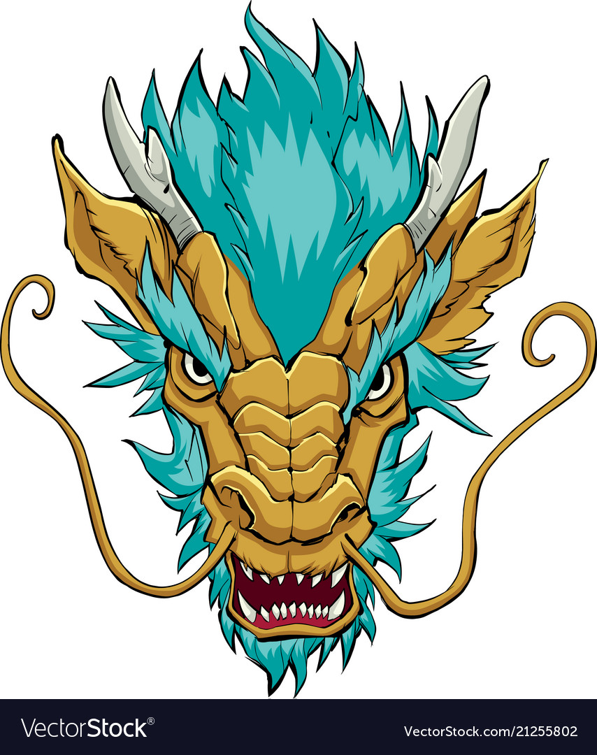 chinese dragon head gold royalty free vector image