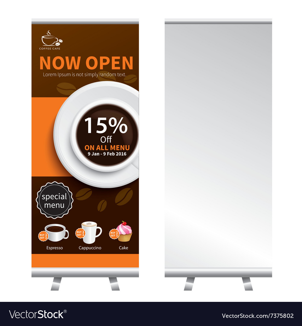 Coffee Roll Up Banner Stand Design Royalty Free Vector Image