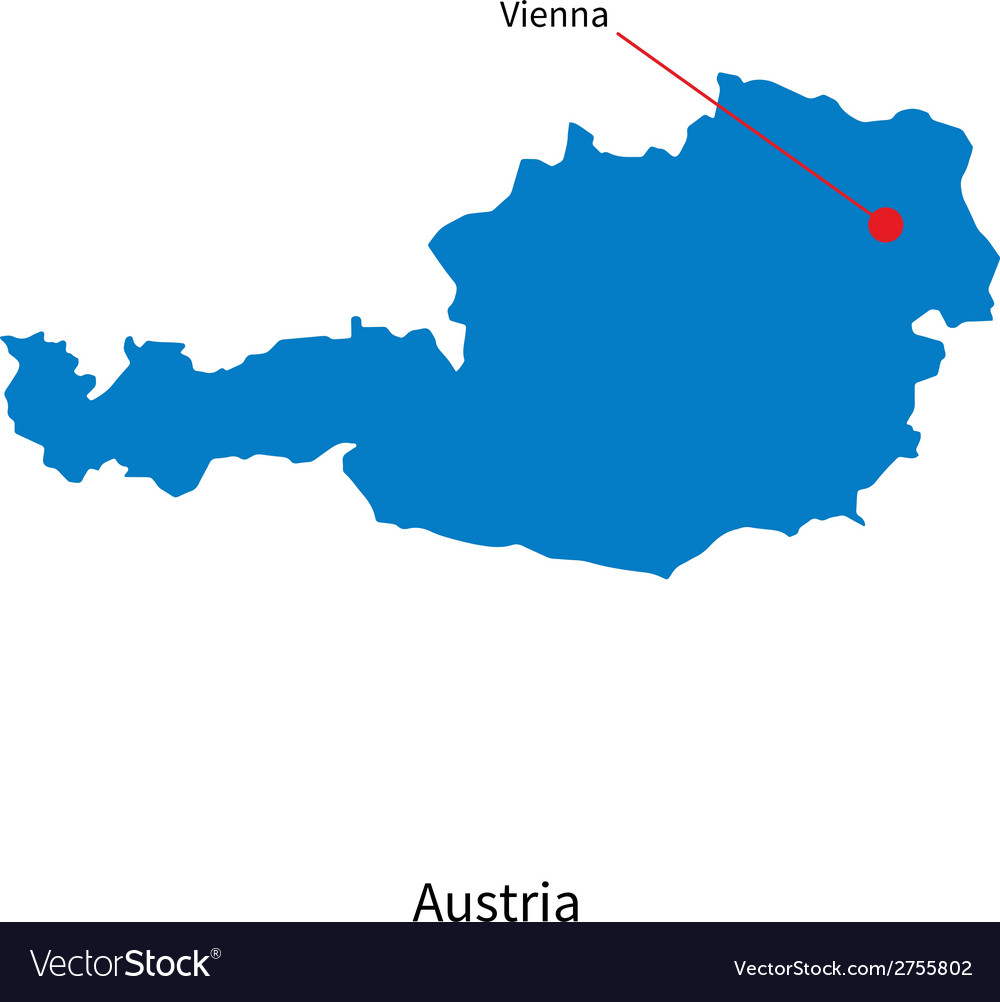 Detailed map of Austria and capital city Vienna