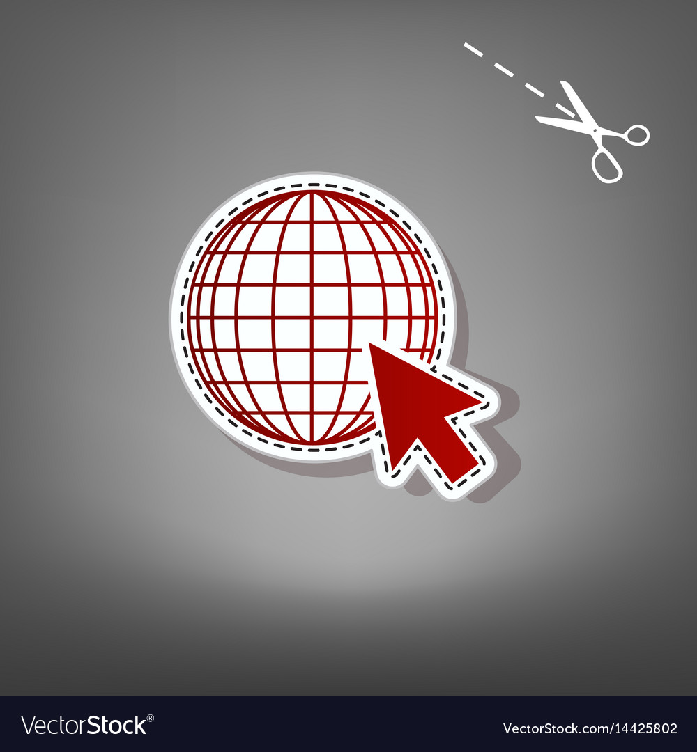 Earth globe with cursor red icon with for