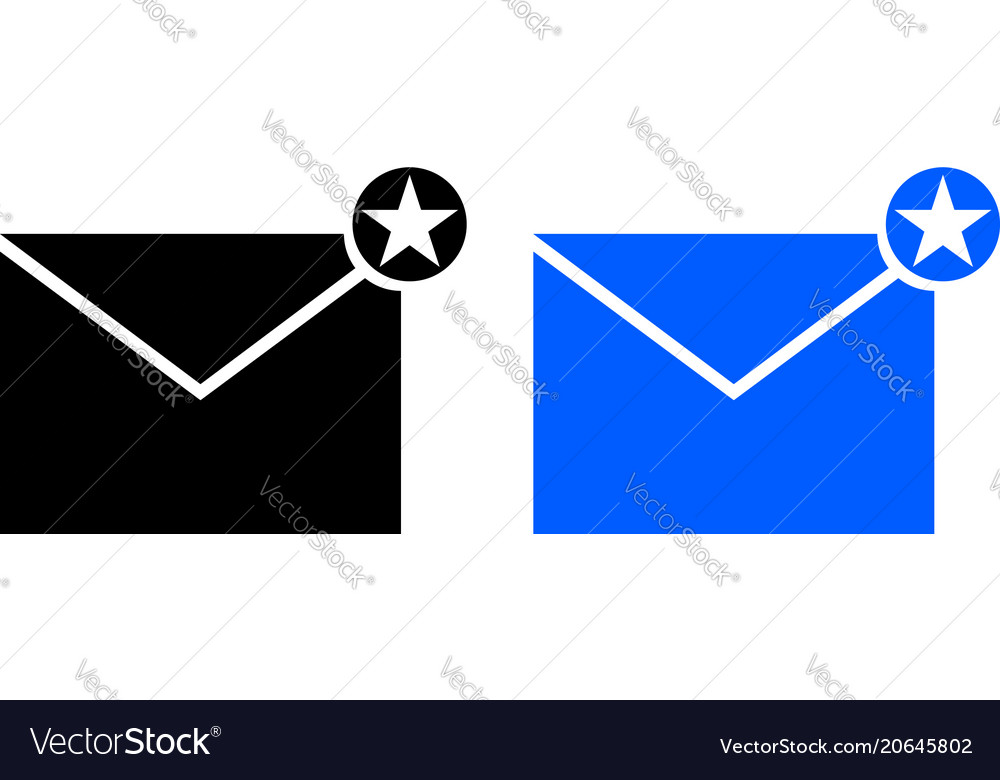 Envelope icon with star sign vector image