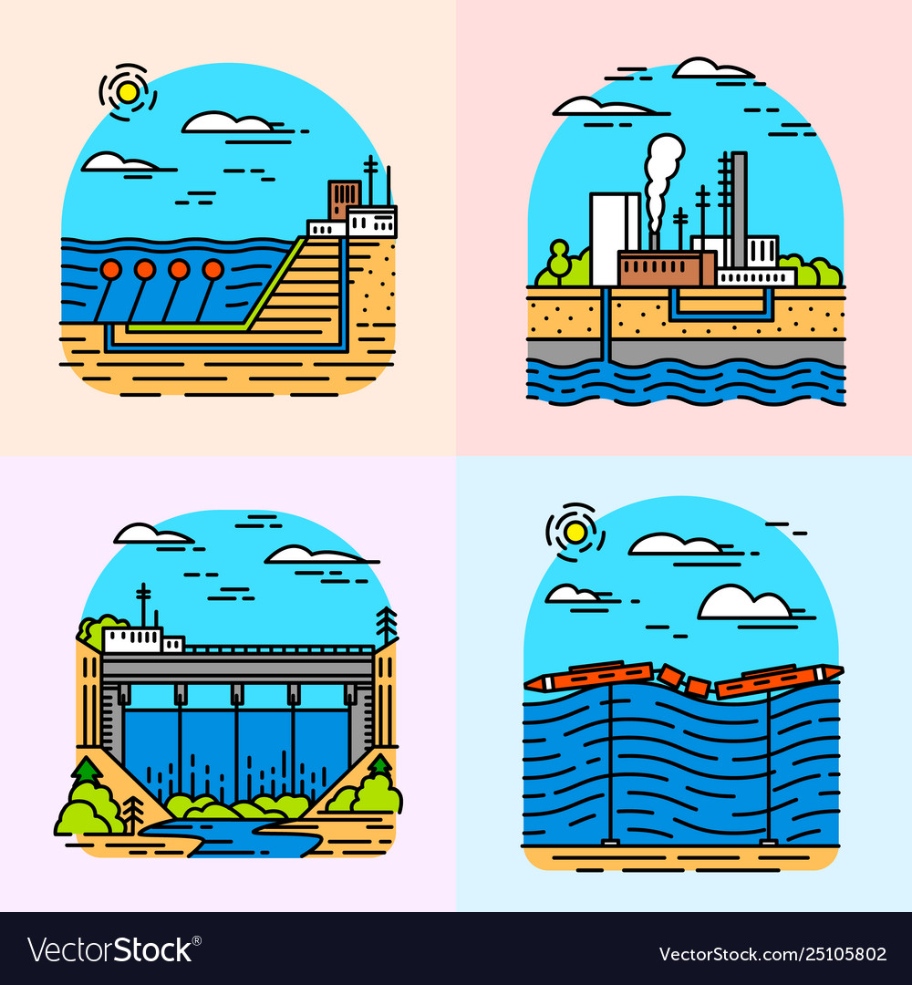 Power plants icons industrial buildings nuclear