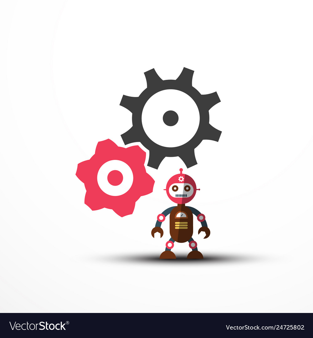 Robot icon with cogs - gears symbol