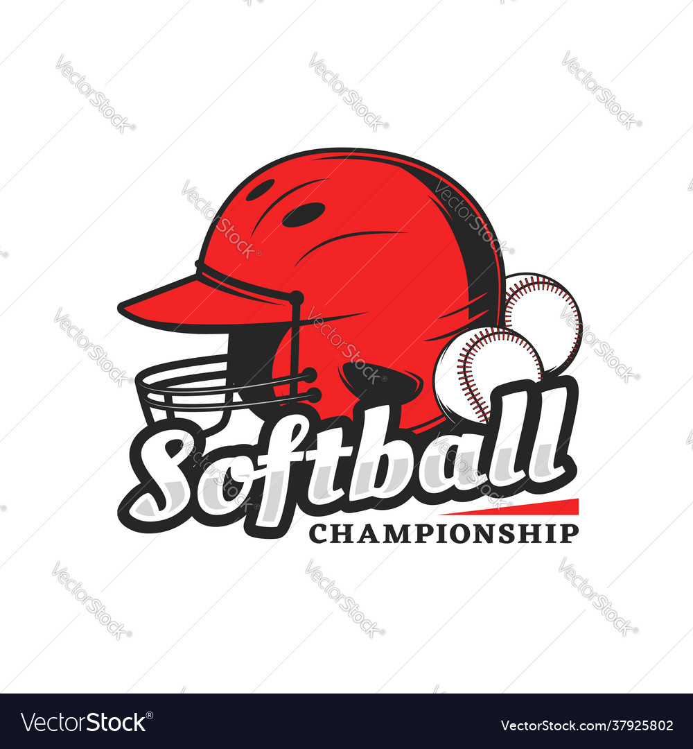 Softball championship icon with red player helmet