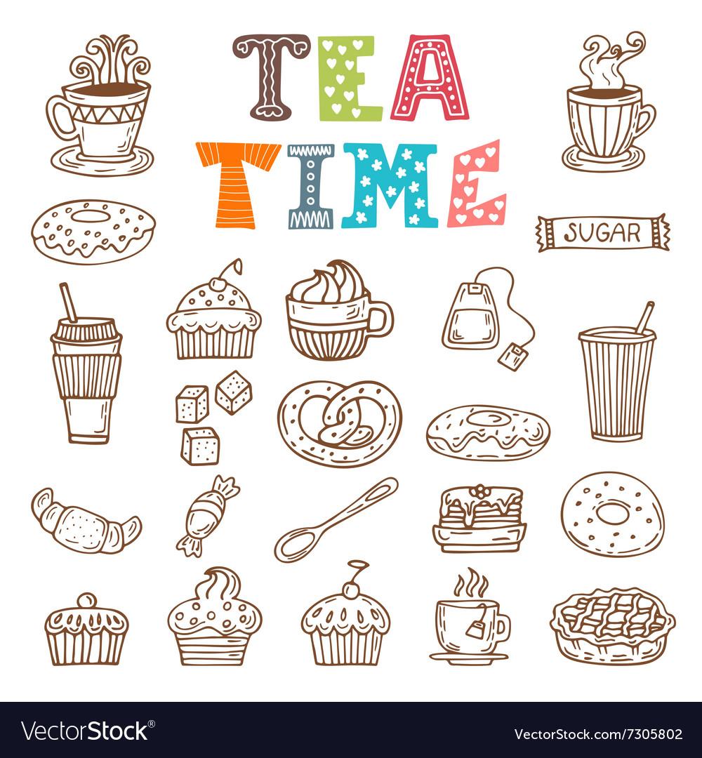 Tea time Hand drawn tea and desserts