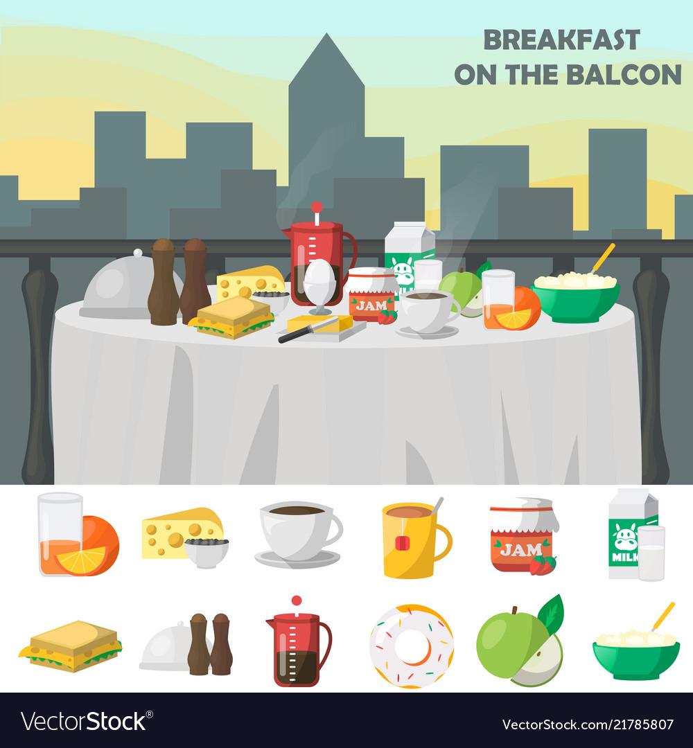 Breakfast on balcon concept