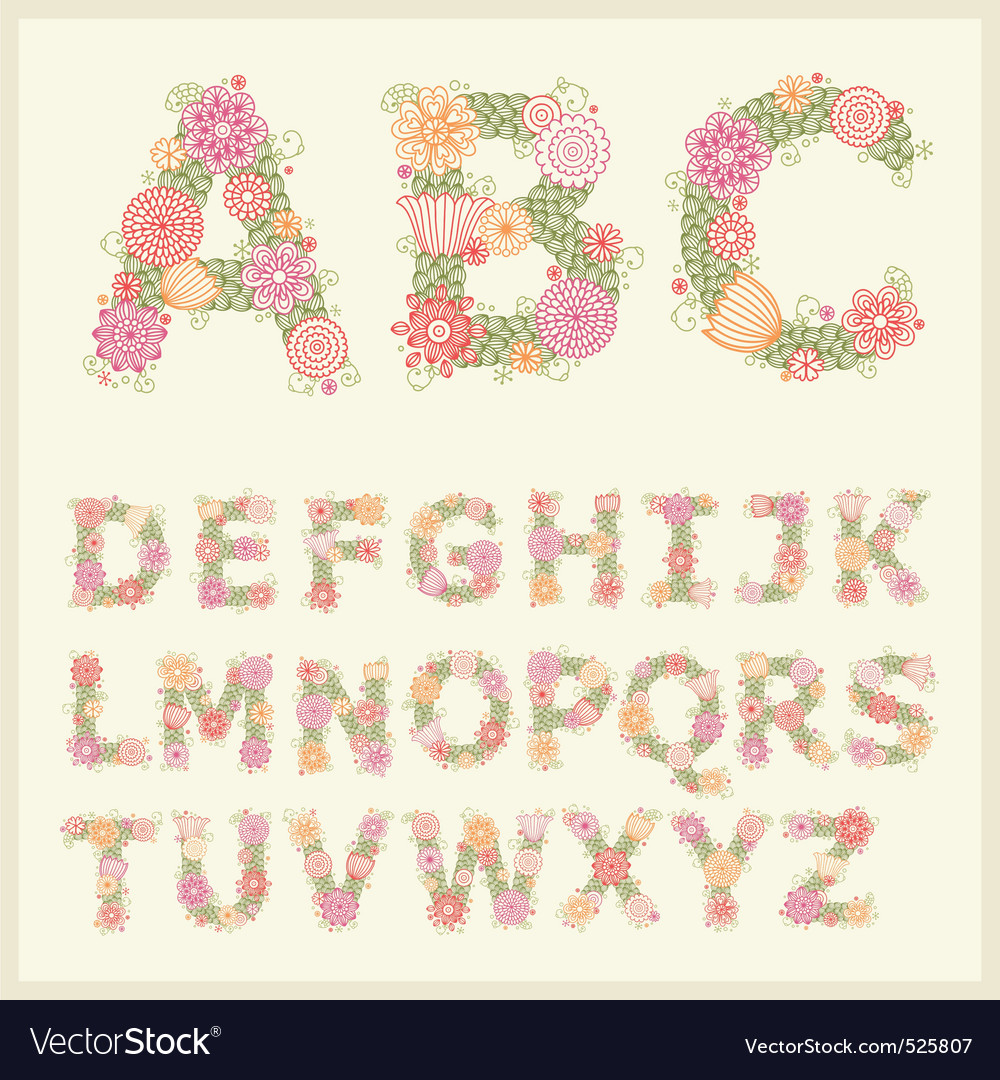 Colorful flower font