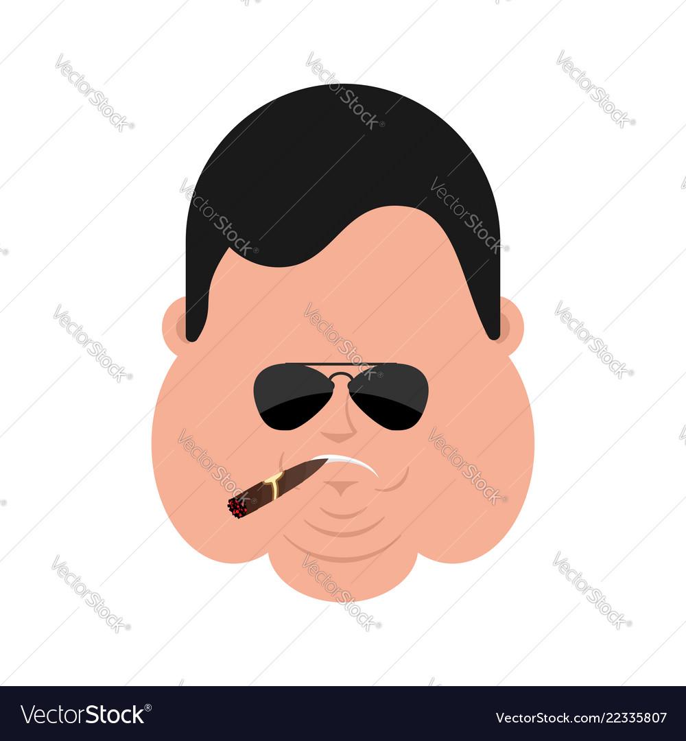 Cool fat serious face avatar stout guy smoking