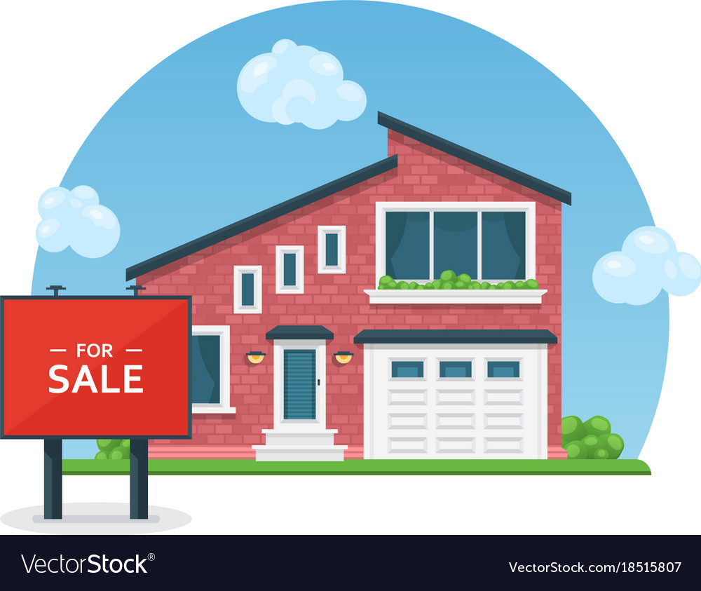 Detailed colorful house for sale flat style Vector Image