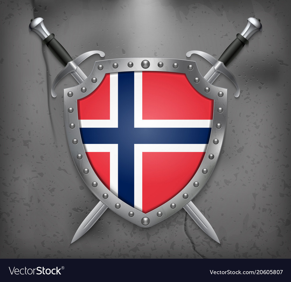 Flag of norway the shield with national flag two