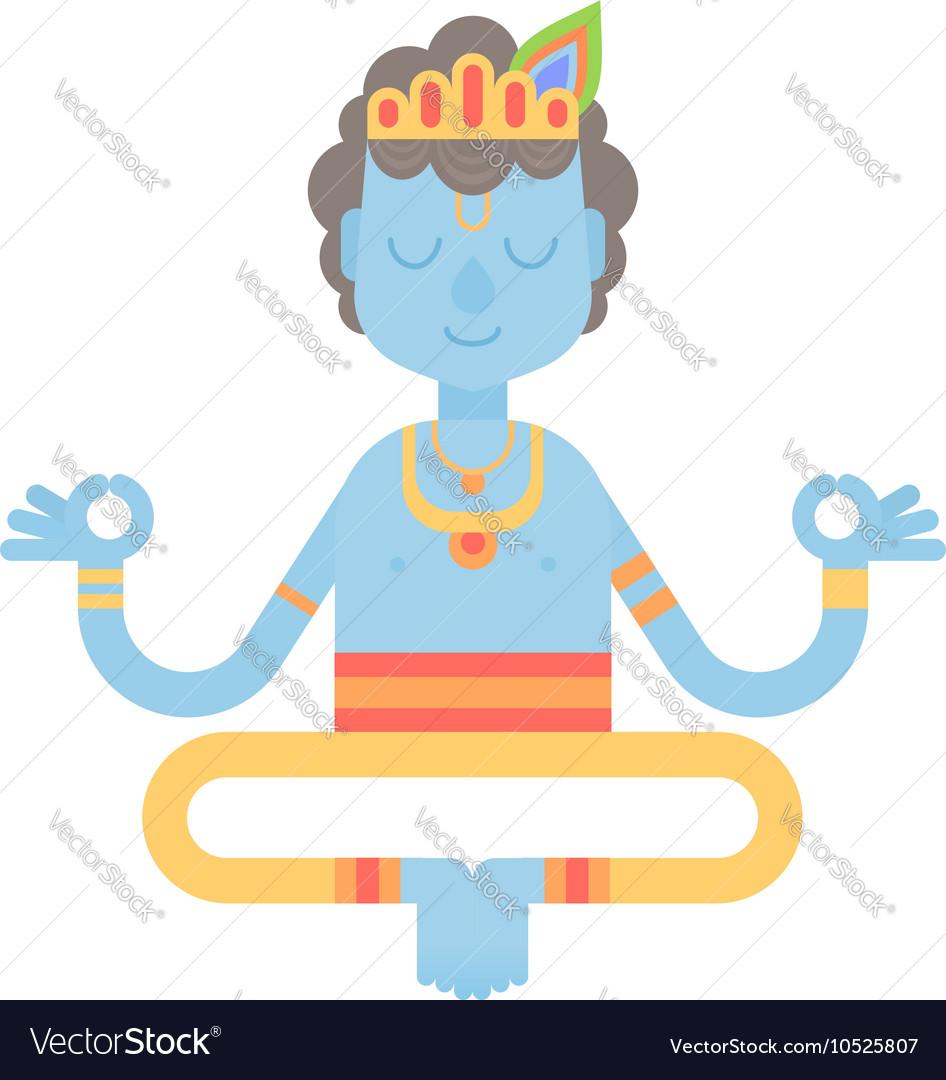 Flat meditating cartoon Krishna character
