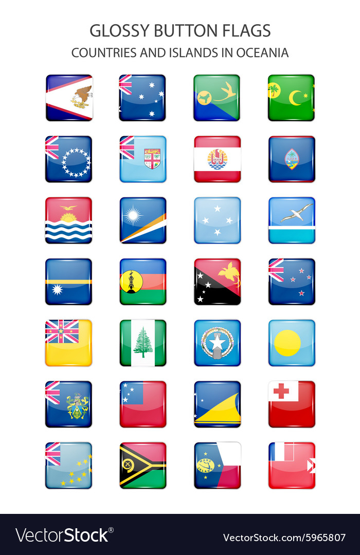Glossy button flags - Oceania Original colors