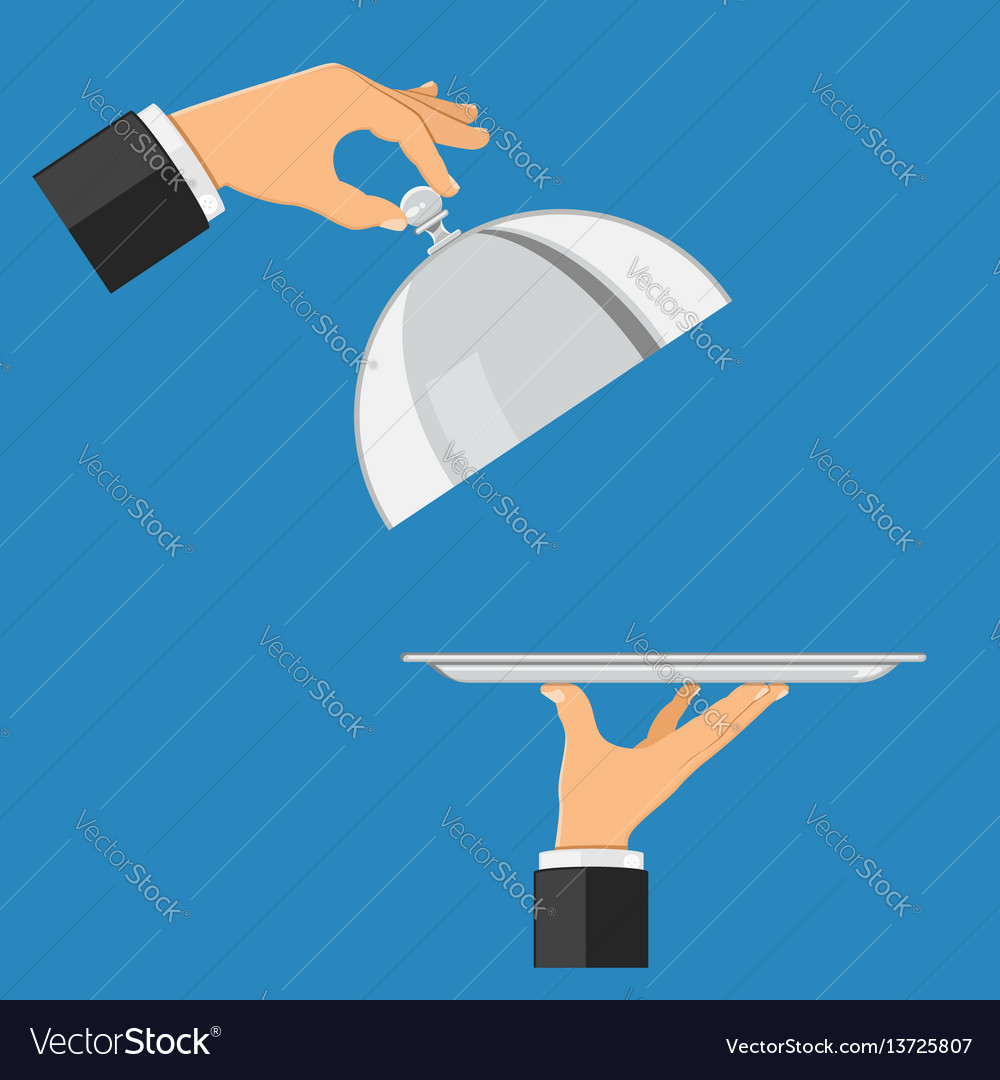 Hands with tray and cover vector image