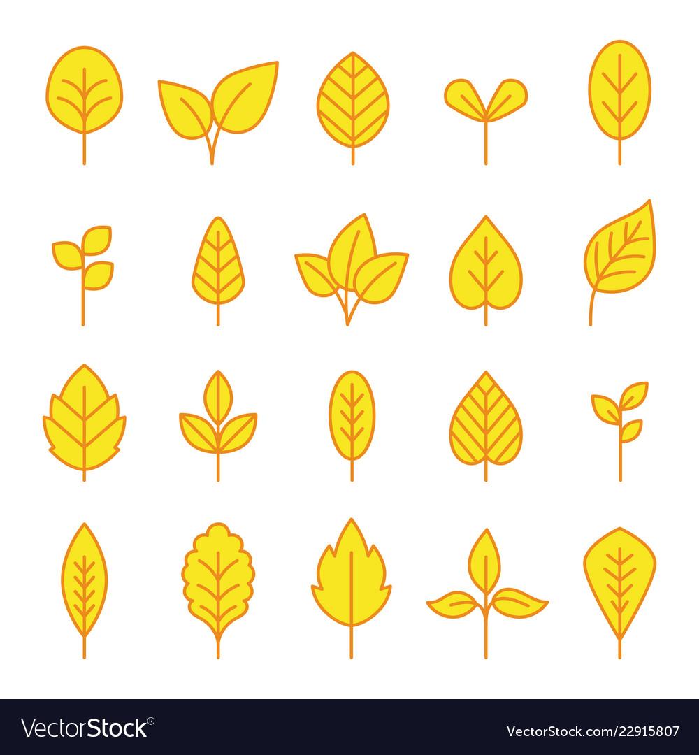 Line leaf icons set