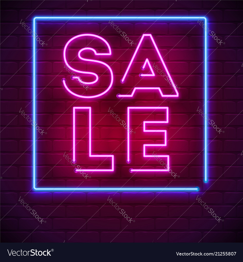 Neon sale sign on dark wall background modern