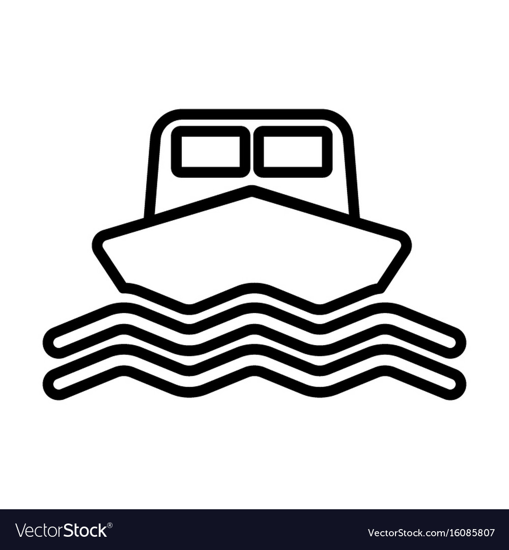 Ship line icon boat sign in outline style