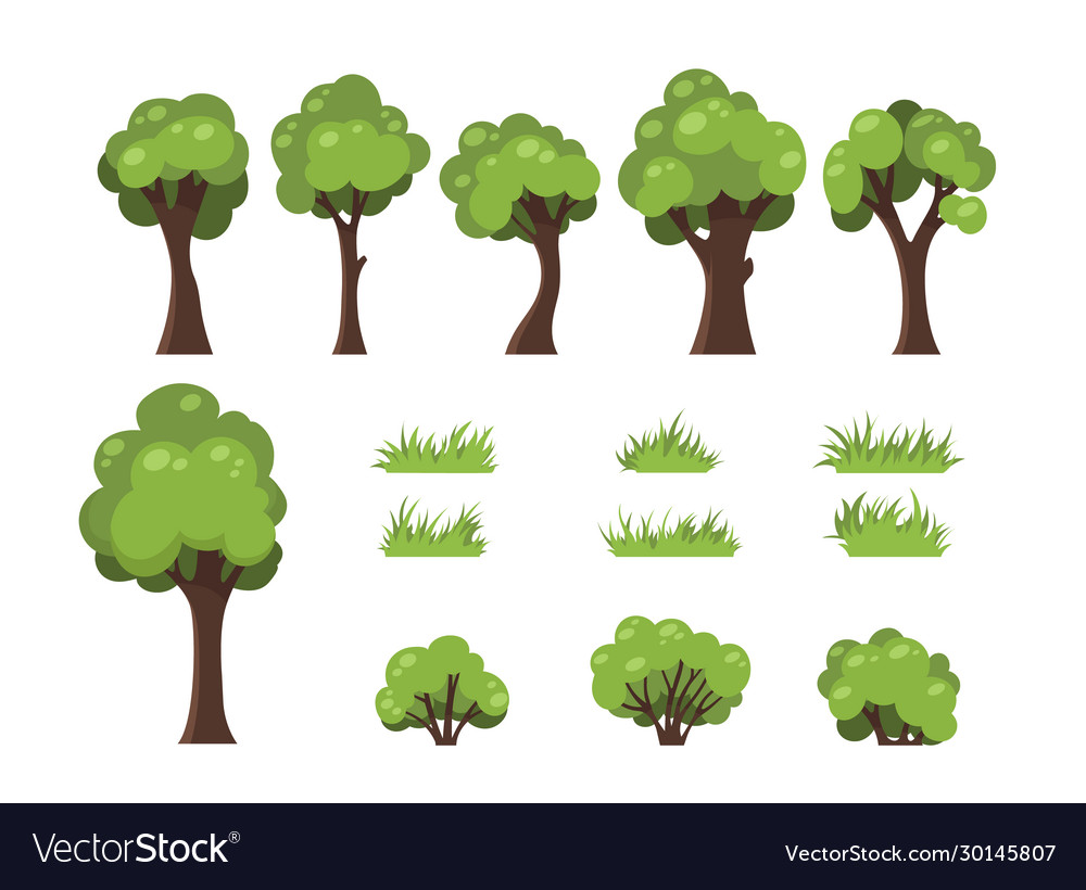 Trees bushes and grass isolated image forest