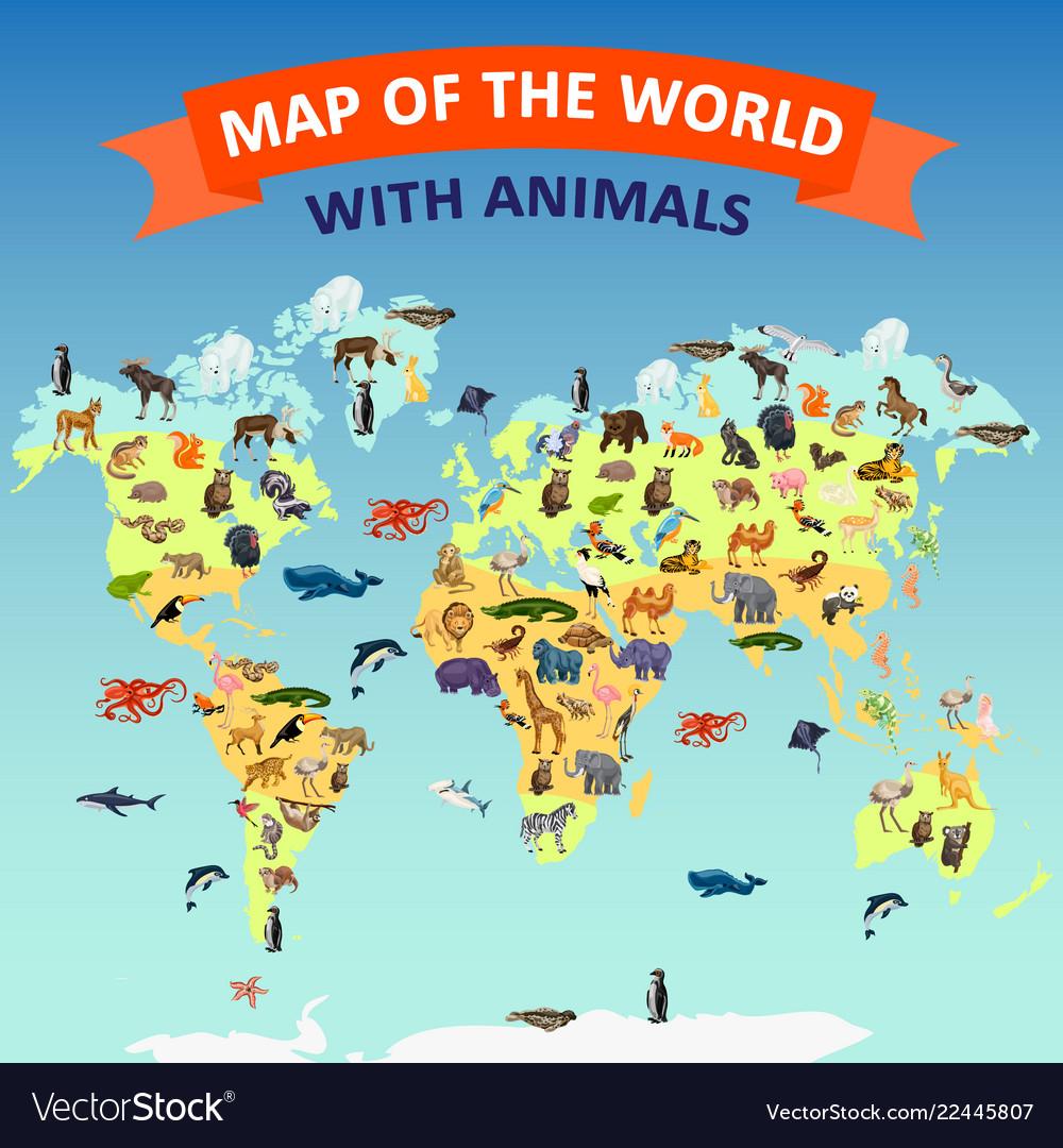 World map animal concept background cartoon style