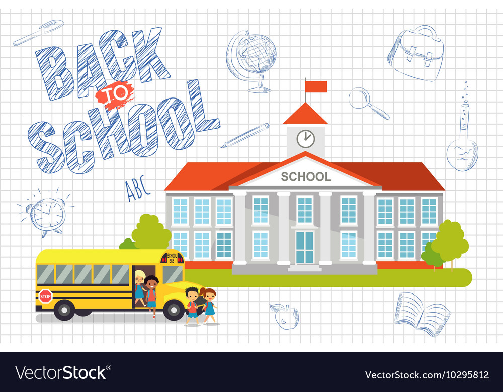 Back to school background with kids vector image