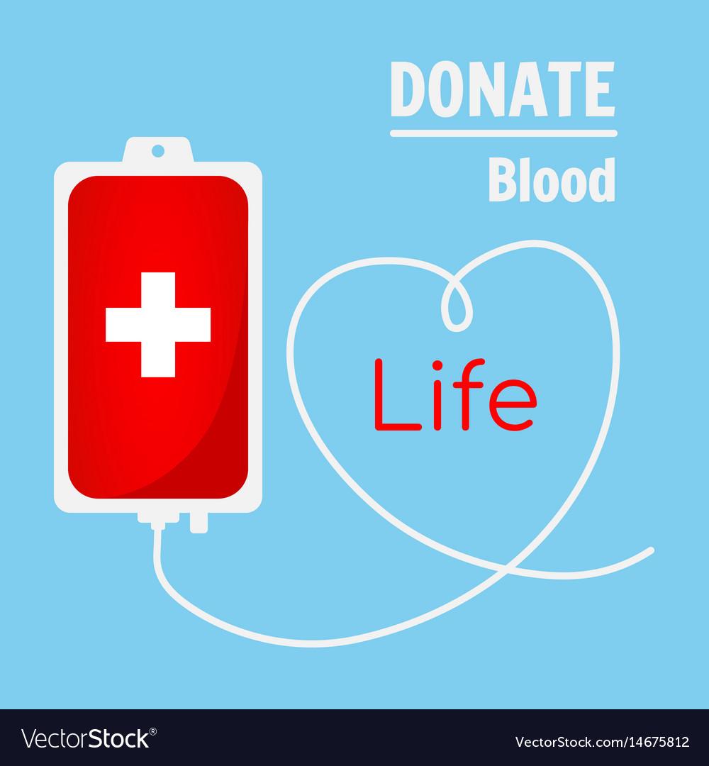 Blood donation bag on blue background