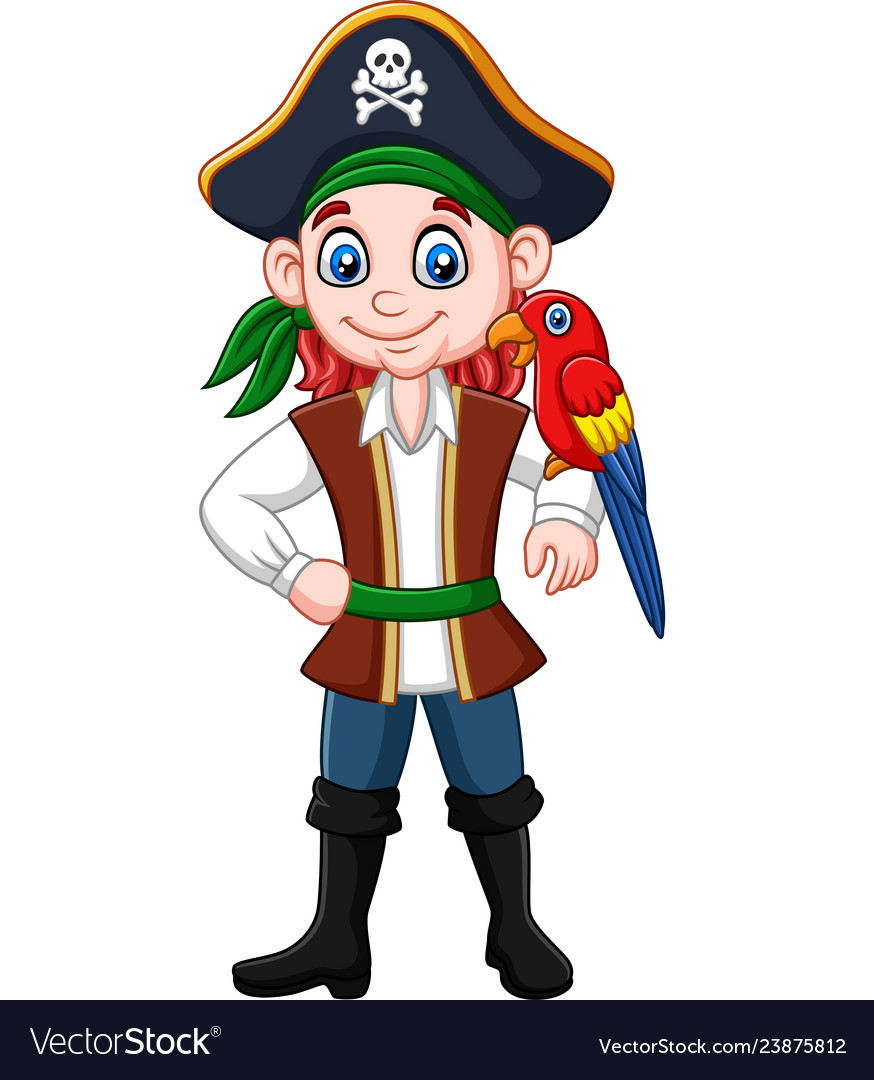 Cartoon captain pirate with macaw bird