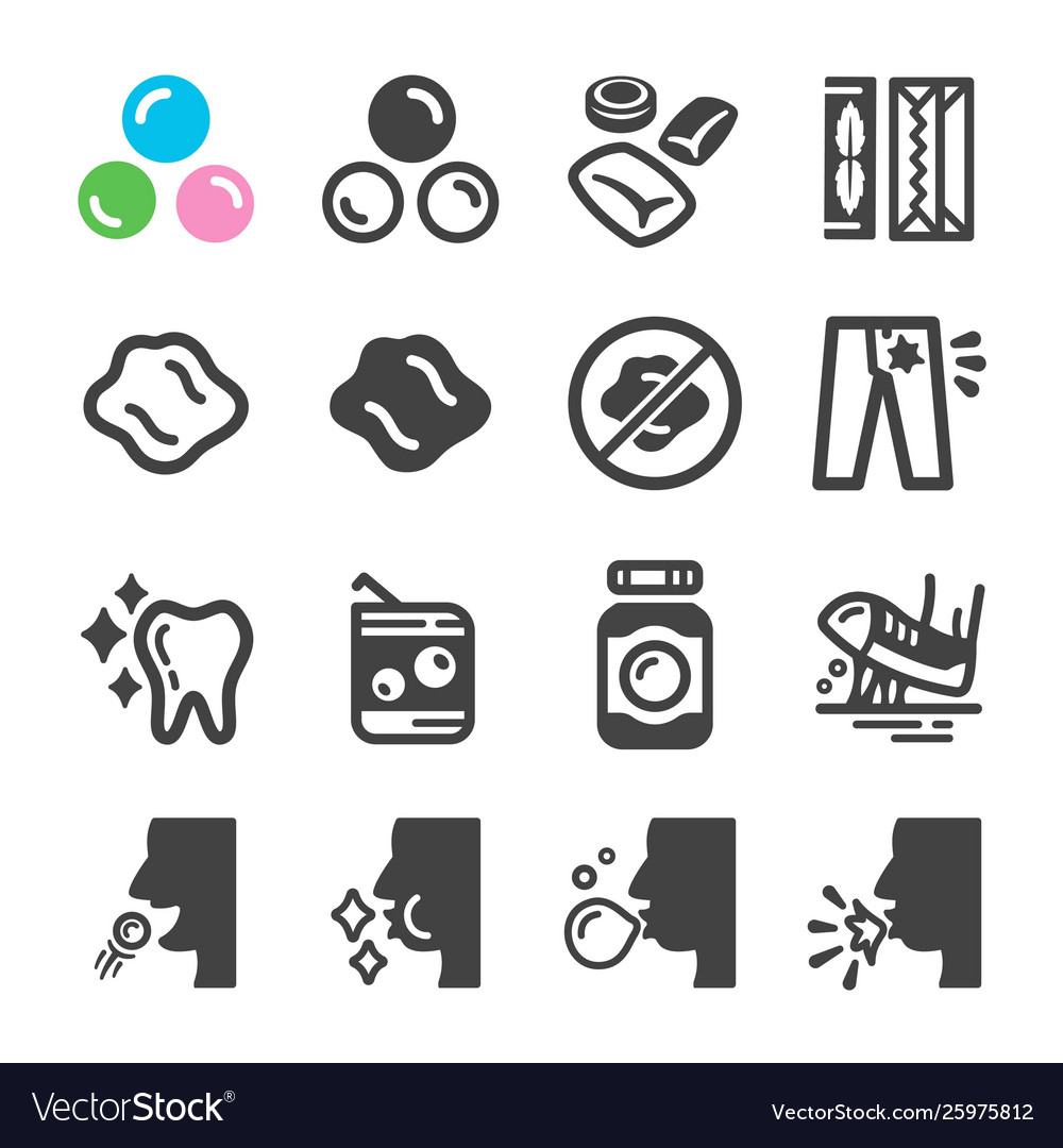 Chewing gum icon set