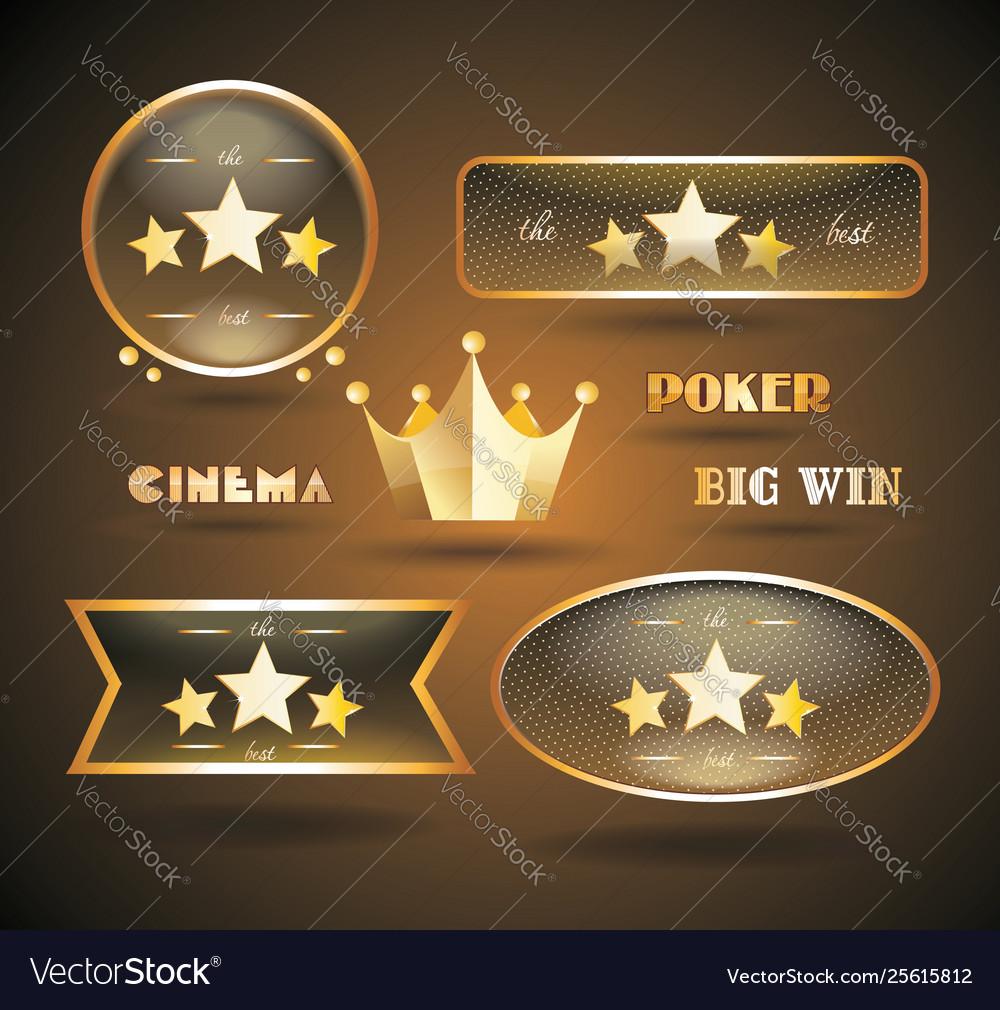 Gold sign set for online casino poker roulette
