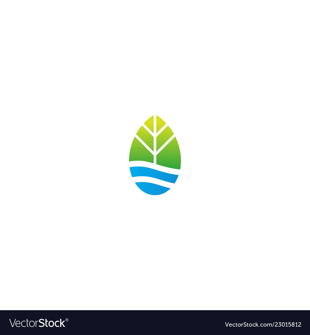 Green leaf nature water sign ecology logo