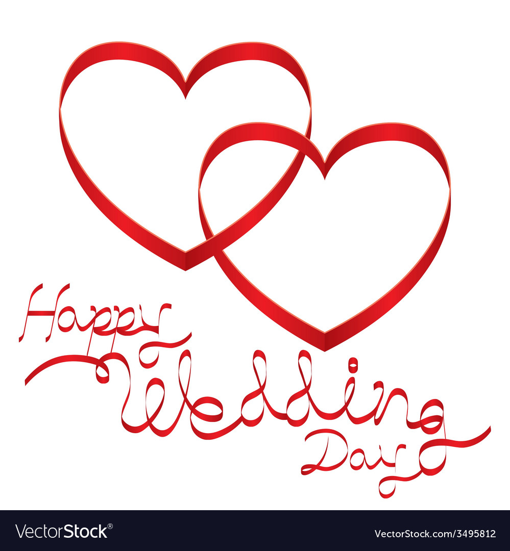 Heart Shape Ribbon and Wedding Text vector image