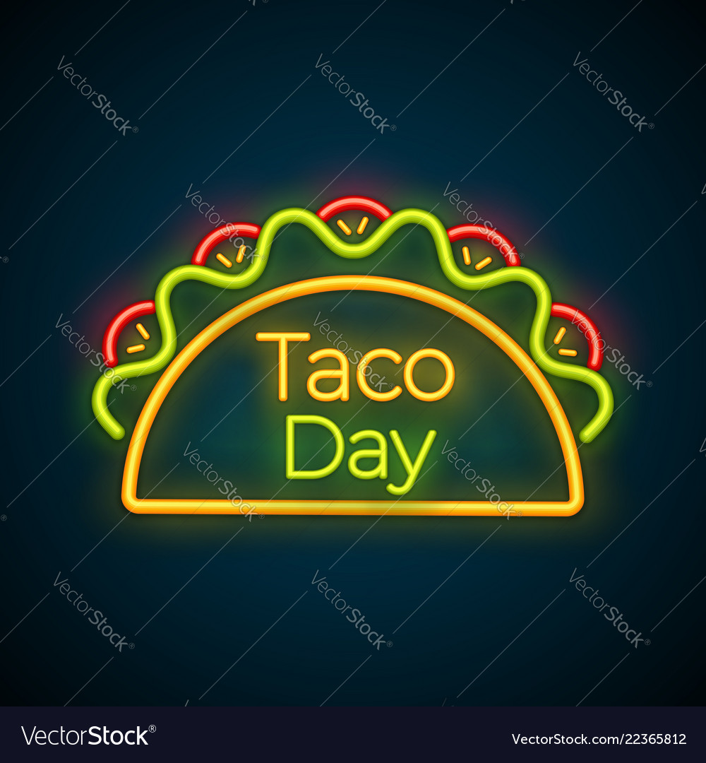 Mexican snack food taco festival neon light sign