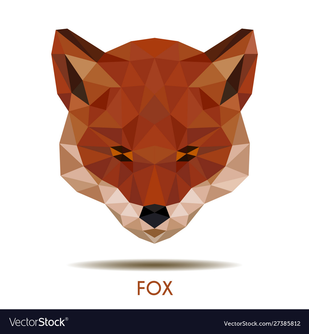 Modern red fox in polygonal style logo element vector