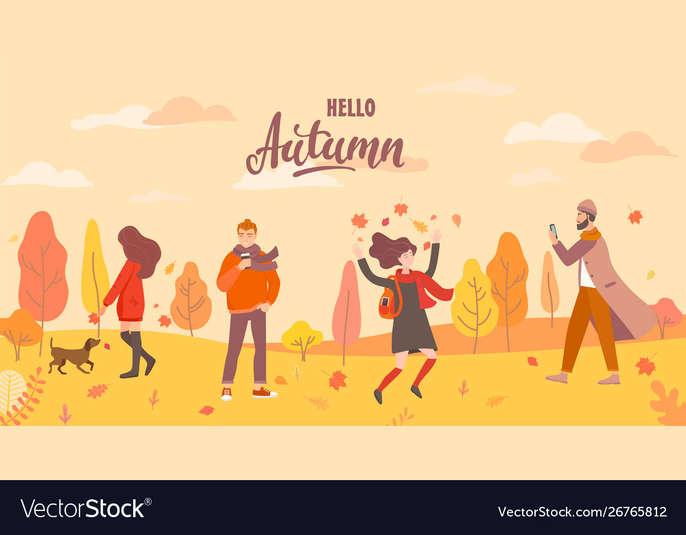 People in autumn park in different situations