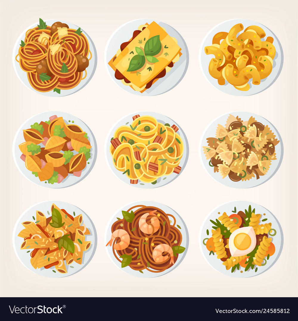 Set many different kinds pasta from top