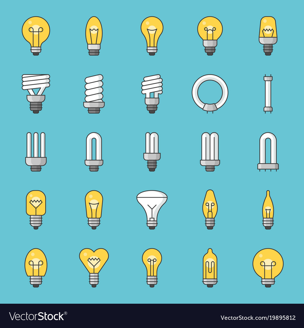 Set of simple type of light bulb and fluorescent vector image