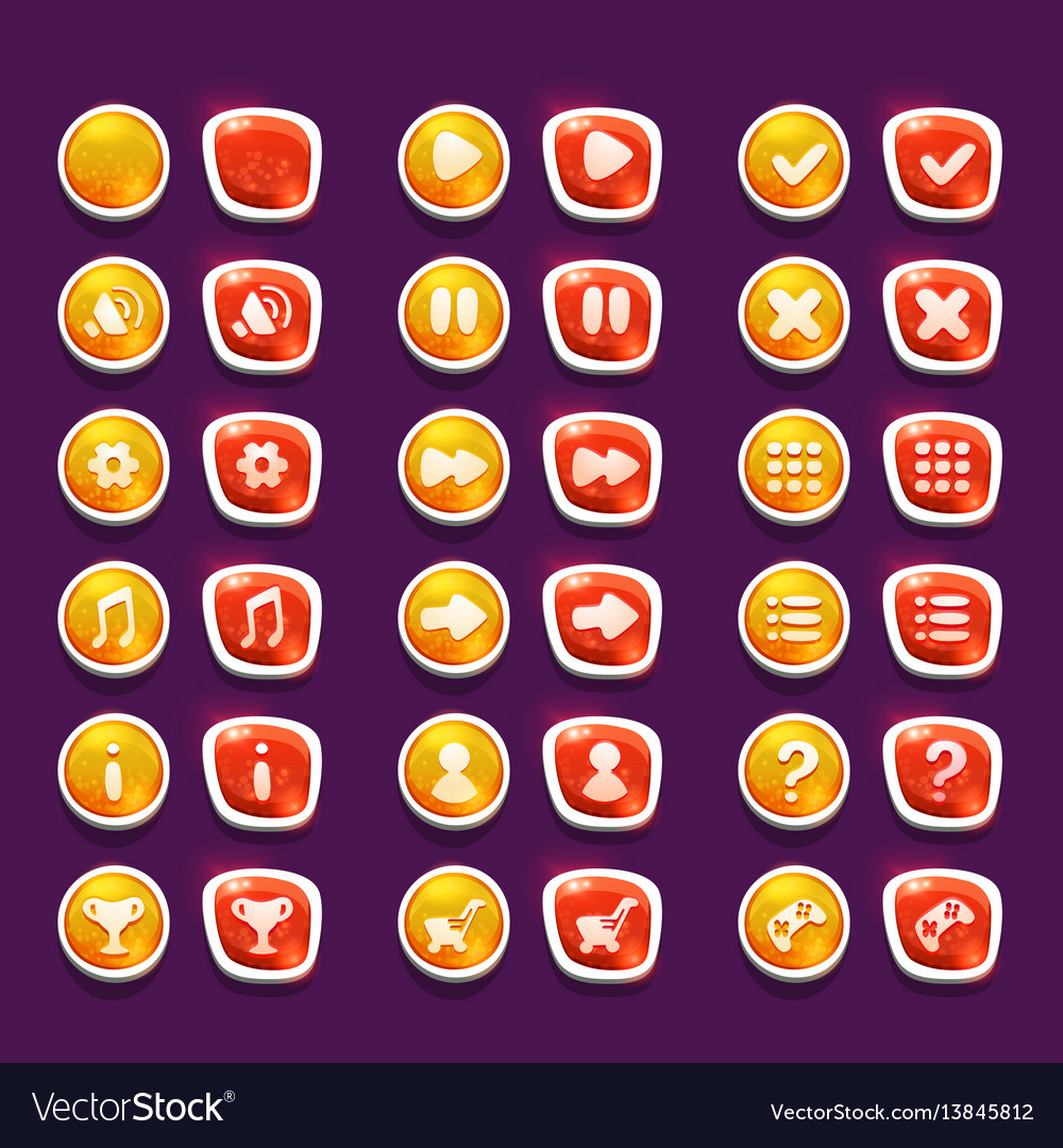 Set with shiny red and yellow interface buttons