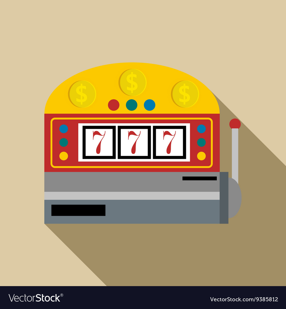 Slot machine with lucky seven icon flat style