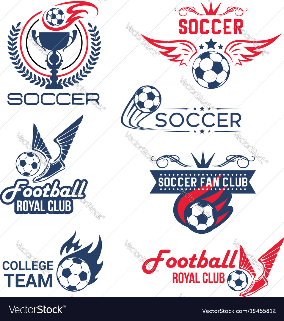 Soccer football club tournament icons set vector image