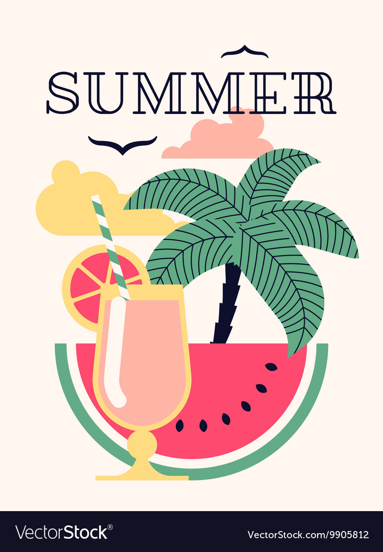 Summer Poster with a Cocktail